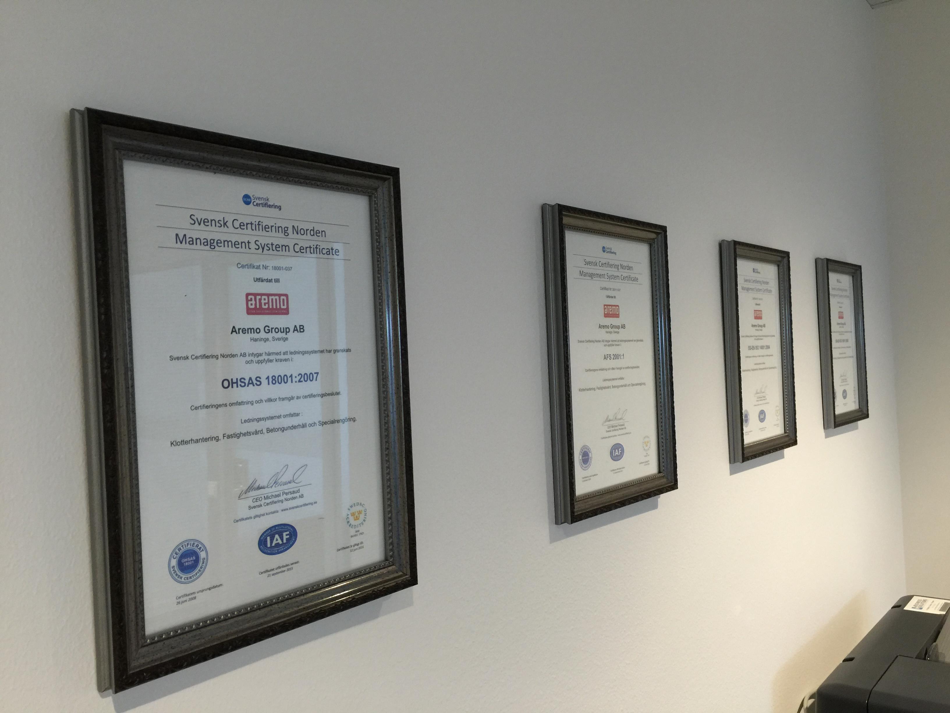 Uppdaterade certifikat